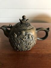 Vintage Chinese Cast Metal Bronze Teapot Carved Figures Emperor Stamped To Base