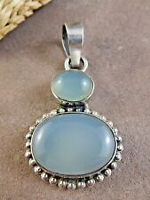Large Blue Moonstone Gemstone Cabochon Oval Pendant 925 Sterling Silver #440