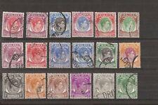 SINGAPORE 1948  KGVI 1c  - $5 (perf 18)  set of 18 vfu