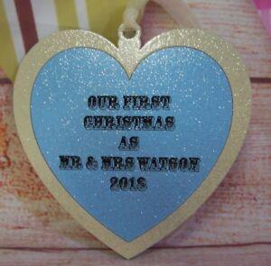 First Christmas as Mr & Mrs Christmas Heart PERSONALISED Wooden MDF Keepsake