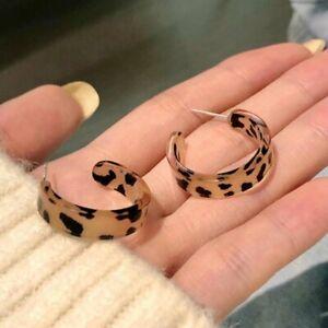 925 Silver Leopard C-shape Acrylic Earrings Hoop Hook Women Party Geometric Gift