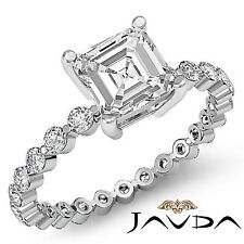 Asscher Cut Diamond Vintage Pave Engagement Ring GIA H VS2 14k White Gold 1.7 ct