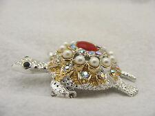 Vintage Silvertone Turtle Pin Brooch Pearls Green Rhinestone Eyes