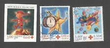 France oblitérés - Croix rouge avec surtaxe N°3199, 3288 et 3362 - cachets ronds