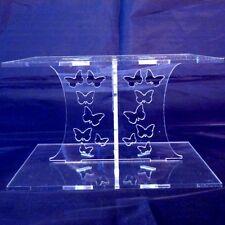 CLEAR Acrylique Carré Papillon de Mariage & Anniversaire Présentoir Gâteau 15cm
