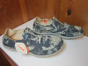 Cushe Mens 12 Blue Slip On Boating Outdoors Reinforced Canvas Hawaiian Shoes NEW