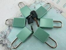 (Lot of 6) Mini Padlock MATT GREEN COLOR Small Tiny Box Lock with Keys