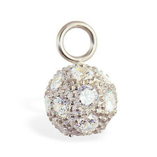 Changeable CZ Disco Ball Belly Button Ring Swinger Navel Charm