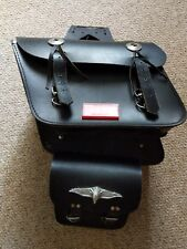 VINTAGE BLACK LEATHER Heavy Duty SADDLE BAGS - MOTORCYCLE and  SISSY BAR BAG
