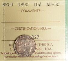 Newfoundland 10 Cent 1890 - ICCS Graded AU-50 - NICE Example! - X0Q 027
