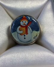 Elliot Hall Enamels One Of A Kind Snowman Bell Charm Ornament By S. Shelby