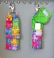 CLOSED TOP chapstick holder key chain fob  Puzzle AUTISM Kids  Gift