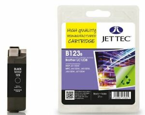 Remanufactured LC123 Black Ink Cartridge by JetTec - B123B for Brother