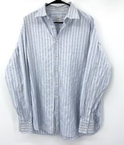 Armani Collezioni Luxury Mens Dress Shirt 44 17.5 Large Blue Stripe 100% Cotton