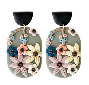 Beautiful Hand Crafted Polymer Clay Earrings Flowers