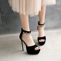 Women Ankle Strap Super High Heels Peep Toe Pumps Suede Fashion Shoes US4.5-10.5