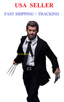 Custom 1/6 scale Logan Wolverine muscular figure black suit set w/ bloody Claws