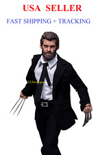 Custom 1/6 scale Logan Wolverine muscular figure body black suit set w/ Claws