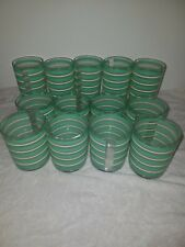 Green and White Striped Set of Outdoor Plastic Cups