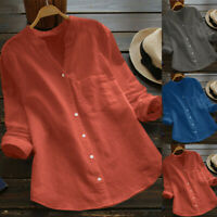 Women Cotton Linen Casual Solid Long Sleeve Shirt Blouse Down Tops V Neck Top US