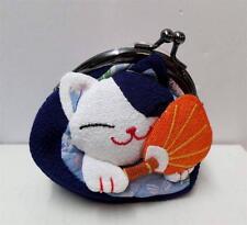 Plush Maneki Neko Lucky Cat Kimono Coin Purse Loose Change Bag Blue