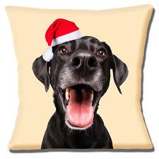 "FUNNY ADULT BLACK LABRADOR LAB SANTA HAT PHOTO PRINT 16"" Pillow Cushion Cover"