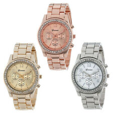 Faux Chronograph Quartz Plated Classic Round Ladies Women Crystals Watch Cheap