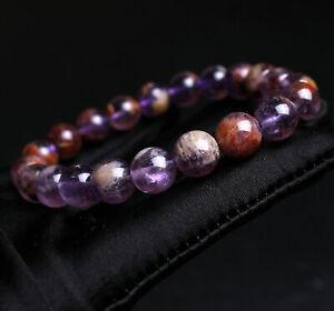 9.5mm Natural Purple Amethyst Ghost Crystal Beads Bracelet AAAA