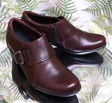 CLARKS BURGUNDY LEATHER LOAFERS SLIP ONS DRESS WORK HEELS SHOES WOMENS SZ 10 M