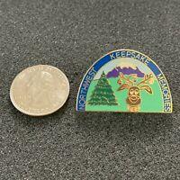 Northwest Keepsake Memories Evergreen Mountain Deer Travel Souvenir Pin Pinback