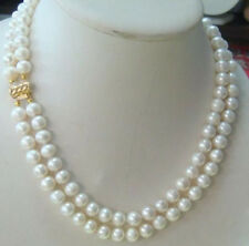 """NEW HOT SELL 2 ROW CHARMING 8-9MM AKOYA WHITE PEARL NECKLACE 18"""" 19"""" INCHES 14K"""