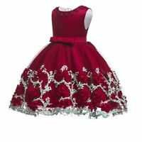 Baby kid tutu flower dress formal party wedding princess bridesmaid girl dresses