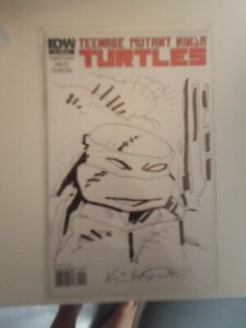 TMNT #1 Eastman SIGNED SKETCH RI-D Variant Teenage Mutant Ninja Turtles IDW RARE