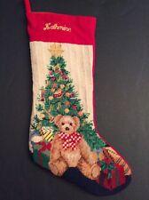 "Katherine Needlepoint Christmas Stocking Personalized Tree Teddy Bear Gifts 19"""