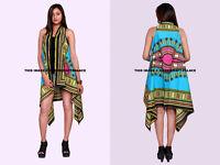 Indien Coton Dashiki Cardigan Haut Kimono Femme Étole Turquoise Robe Plage Usure