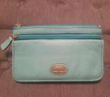 Authentic Fossil Green/Teal Soft Leather Bifold Wallet Coin Purse Pouch EUC