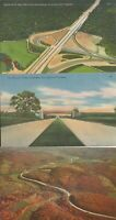 Pennsylvania Turnpike scenes, interchanges, on 5 older to 1996 color postcards