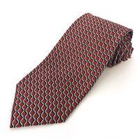 Ermenegildo Zegna Italy Silk Neck Tie Red Blue Geometric Square Checker Necktie