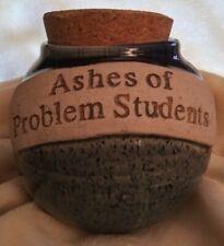Pottery Jar Ashes Of Problem Students Teachers Cork Lid Glazed Blue Drip Round