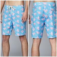 Strong Boalt Size 38 Blue Pink Flying Fish Unlined Board Shorts Swim Trunks
