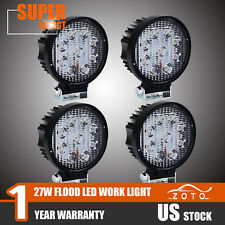 "4PCS 4"" inch 27W Round Flood LED Work Light Fog Lamp Offroad Driving SUV UTE 4WD"