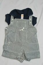 Mini Mode boys short denim like dungaree set - size 3-6 months