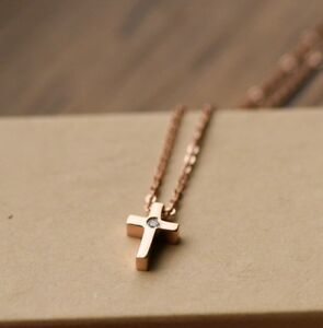 18K ROSE GOLD PLATED STAINLESS STEEL CZ STUD CLASSIC CROSS PENDANT NECKLACE GIFT