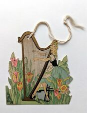 Vintage Bridge Game Tally -- Lady Playing Harp in Garden of Flowers