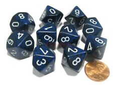 10 d10 Dice Set Chessex OPAQUE DUSTY BLUE gold 25226 Dadi OPACO BLU SPORCO oro