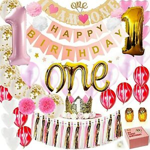 LECIP 1st Birthday Girl Decorations  White, Pink and Gold Party Supplies set.