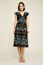 NEW TADASHI SHOJI Black Floral Embroidered Pleat Tulle HAZEL Midi Dress 16 US XL