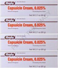 Rugby Capsaicin Cream Pain Relief 0.025%  60gm ( 4 pack ) PHARMACY FRESH!