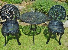 VINTAGE 1950s  VERY HEAVY 100% CAST IRON BLACK OUTDOOR PATIO SETTING- RESTORED