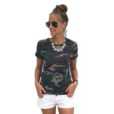 Women's Camo T-Shirt Summer Short Sleeve Casual Tee Shirt Tops Blouse Plus Size
